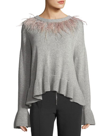 cinq a sept Emira Crewneck Long-Sleeve Wool Sweater