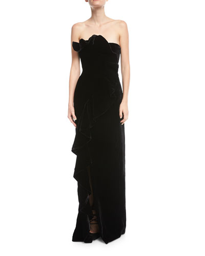 Annoziata Strapless Velvet Column Evening Gown w/ Ruffled Trim