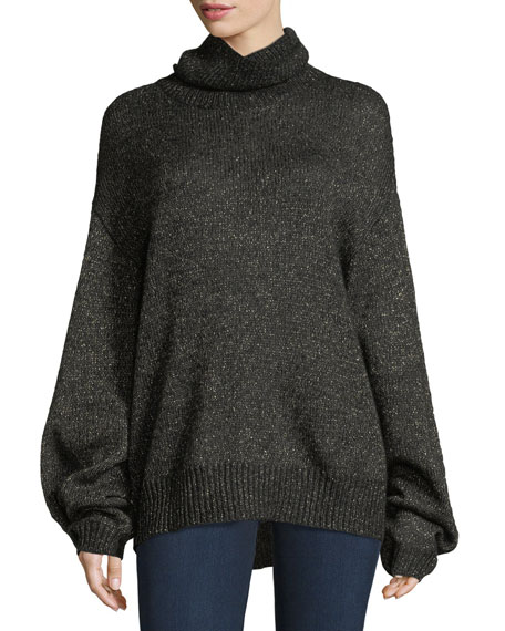 CAROLINE CONSTAS Jasper Turtleneck Metallic Mohair Knit Sweater in Black/Yellow