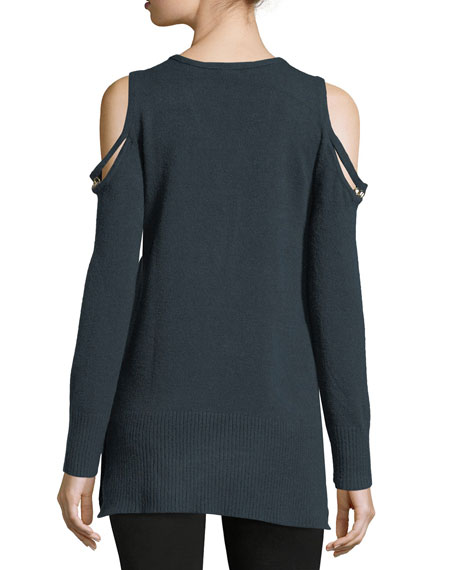 V-Neck Cold-Shoulder D-Ring Sweater