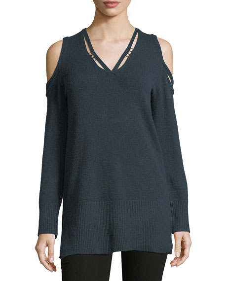 Love Scarlett V-Neck Cold-Shoulder D-Ring Sweater