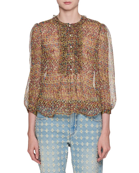 Elou Button-Front Printed Chiffon Silk Blouse