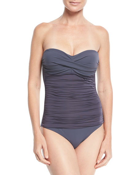 Heidi Klein Cannes Ruched Control Bandeau One-Piece Swimsuit