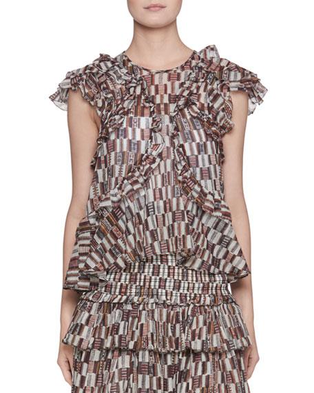 Etoile Isabel Marant Nalou Printed Cotton-Voile Blouse and