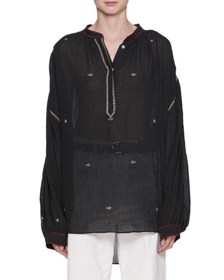 Etoile Isabel Marant Mathilde Embroidered Cotton Gauze Oversized