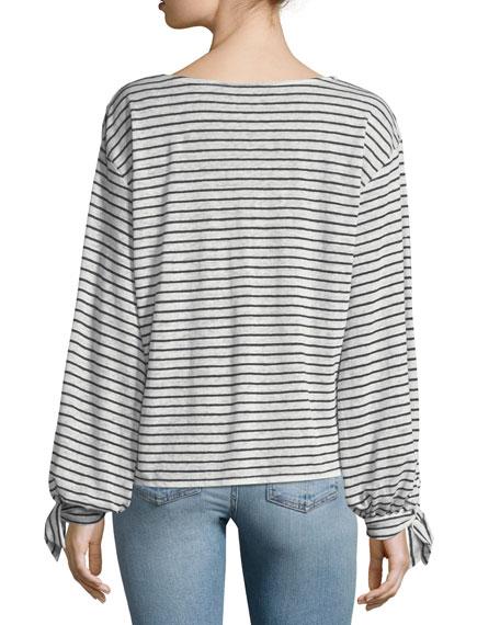 Delevan Round-Neck Striped Linen Top
