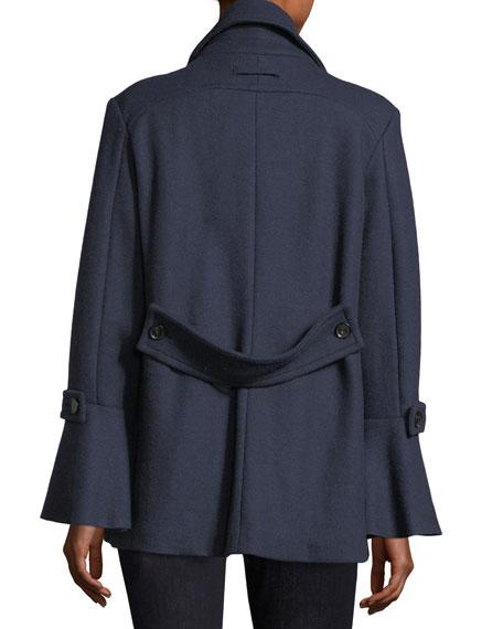 Aeolia Double-Breasted Wool-Blend Pea Coat