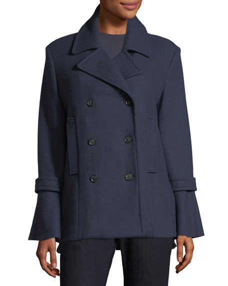 Joie Aeolia Double-Breasted Wool-Blend Pea Coat and Matching