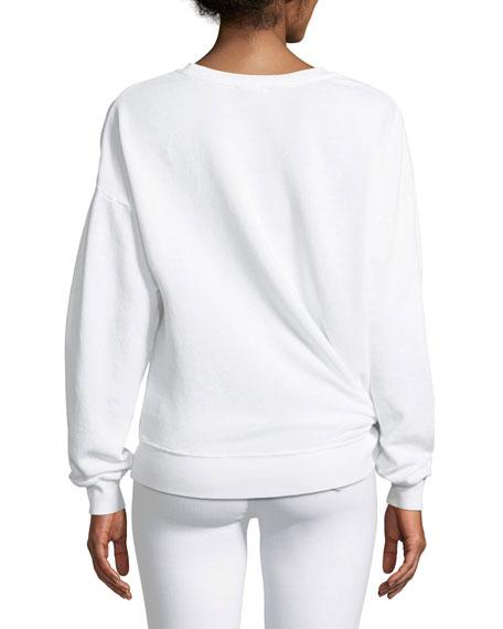 Belvatte Crewneck Knot-Hem Sweatshirt