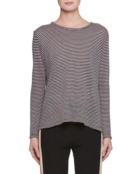 Etoile Isabel Marant Kaaron Crewneck Long-Sleeve Striped Linen