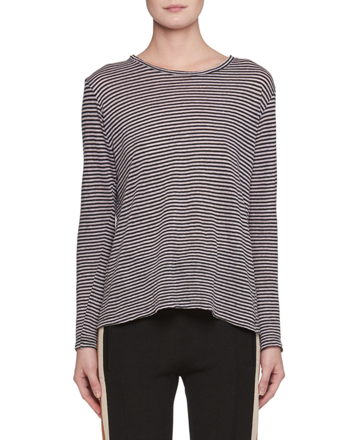 ad5671ff4e1e Etoile Isabel Marant Kaaron Crewneck Long-Sleeve Striped Linen Shirt ...