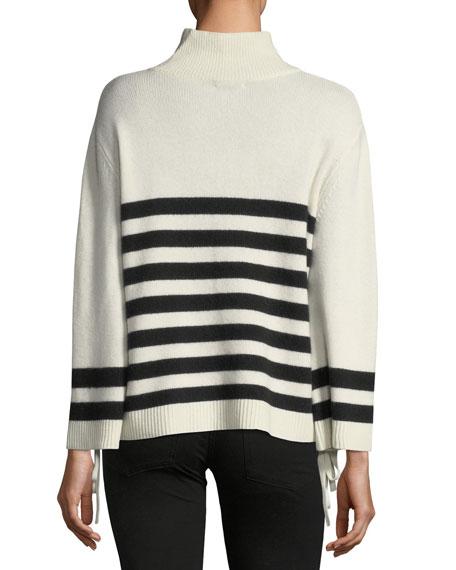 Lantz Striped Turtleneck Wool-Cashmere Sweater w/ Tie Sides