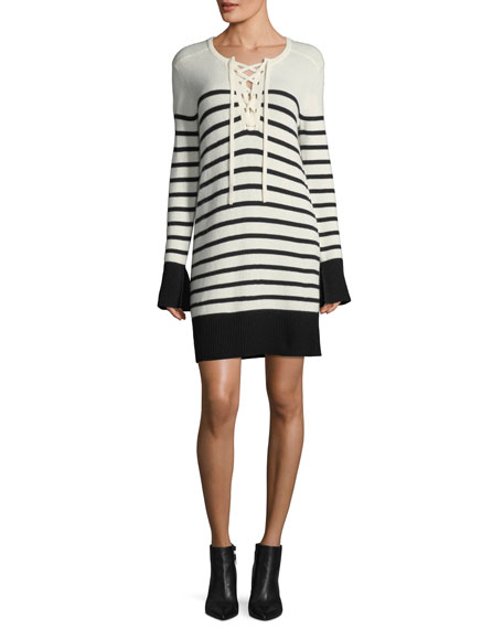Joie Heltan Lace-Front Long-Sleeve Wool-Cashmere Dress