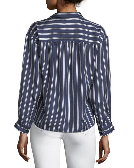 Adiba Button-Front Striped Satin Top