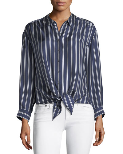 Adiba Button-Front Striped Satin Top