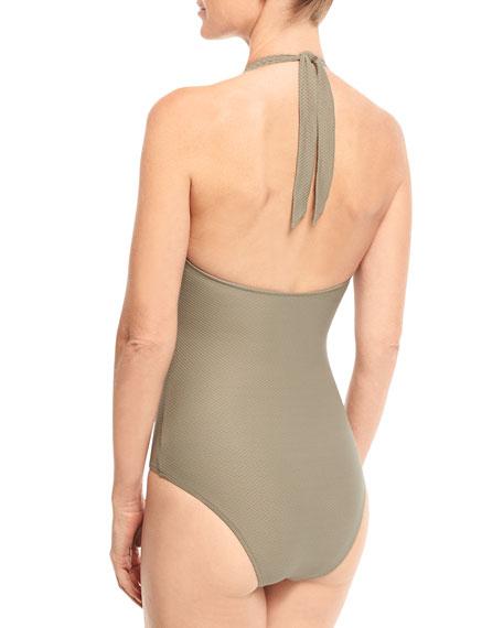 Lumu Scalloped Halter One-Piece Swimsuit