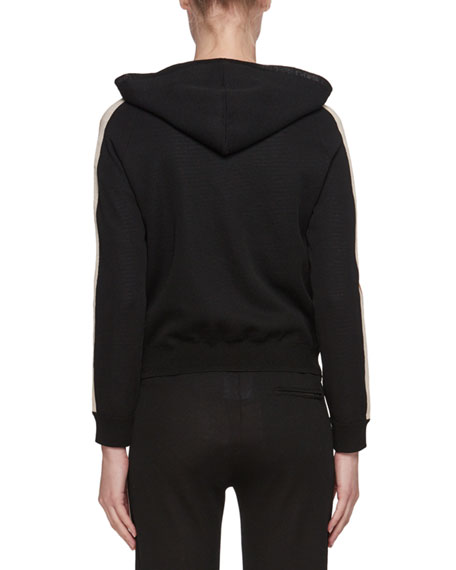 Side-Stripe Pullover Sporty Knit Hoodie