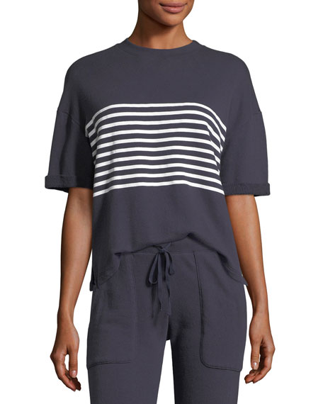 Saneya Crewneck Short-Sleeve Top w/ Stripe Panel