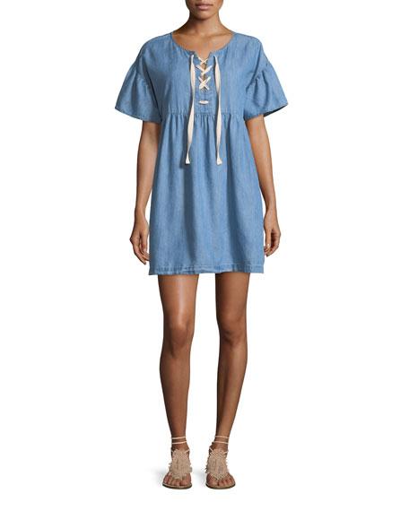 Joie Yenvy Lace-Up Chambray Babydoll Dress