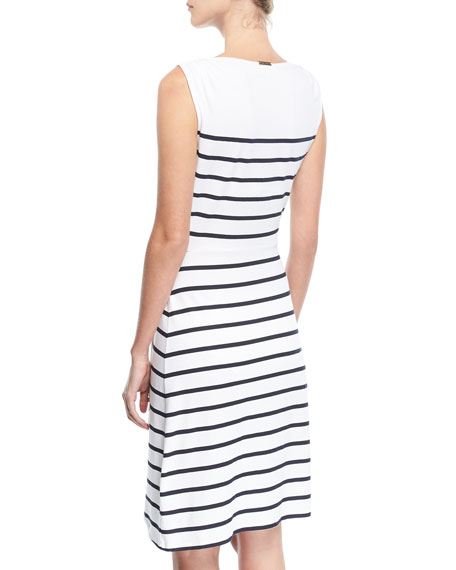 Maine Sleeveless Striped Wrap Dress