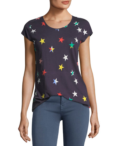 Joie Dillon Scoop-Neck Allover Stars Cotton Top