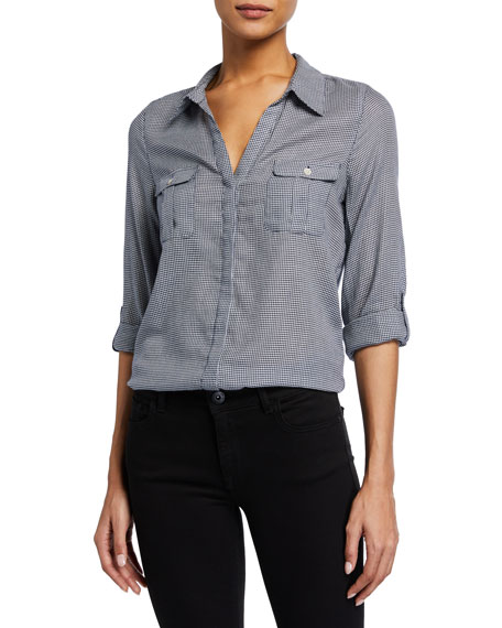 Joie Booker Button-Front Gingham Cotton Top