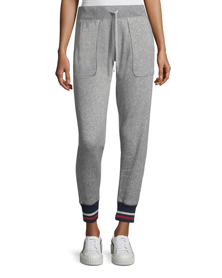 Joie Denicah Heathered Drawstring Jogger Pants w/ Striped