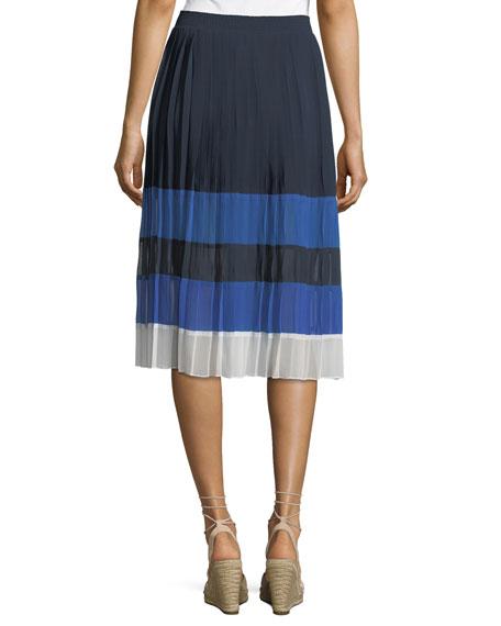 Alpons Colorblocked Pleated A-Line Skirt