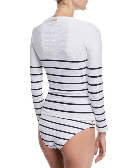 Half-Zip Long-Sleeve Textured Striped Rashguard