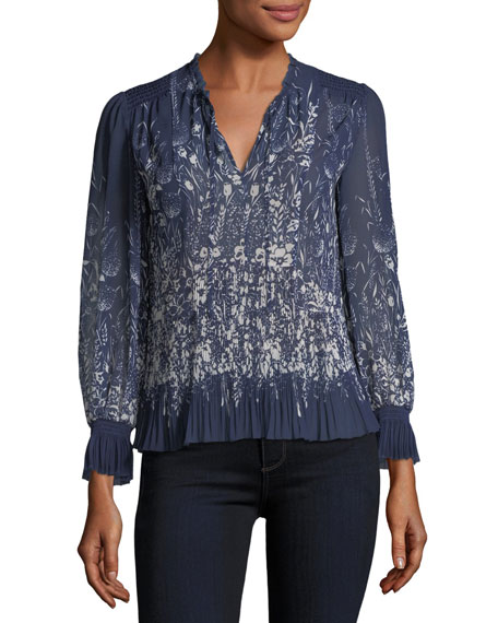 Joie Rita Split-Neck Printed Pleated Top