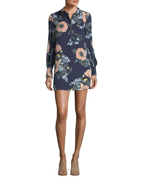 Joie Amaranda Collared Floral-Print Silk Mini Dress