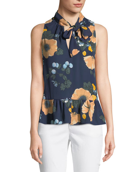 Estero Tie-Neck Sleeveless Floral-Print Silk Top