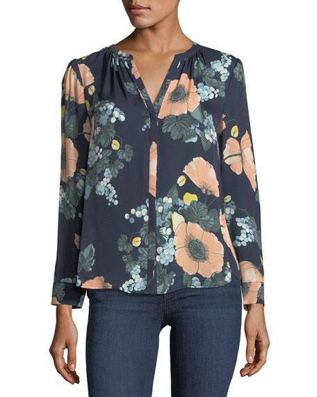 Amarant Floral-Print Long-Sleeve Silk Blouse