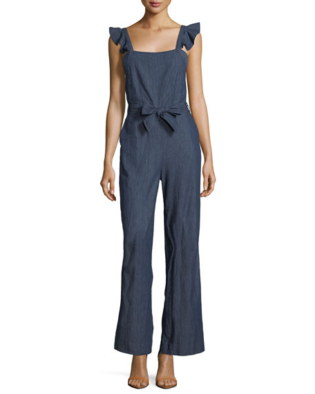 Alvina B Chambray Sleeveless Flared-Leg Jumpsuit