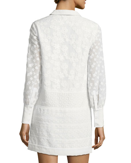 Jamari Embroidered Long-Sleeve Shirtdress