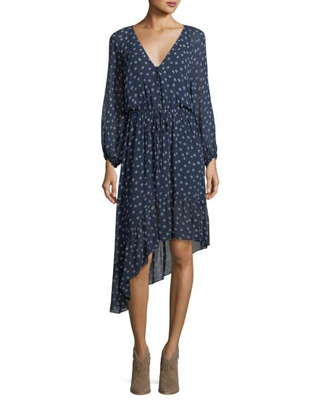 Joie Alithea Asymmetric Printed Silk Dress