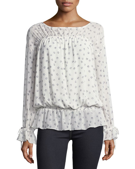 Lystra Floral-Print Silk Blouson Top