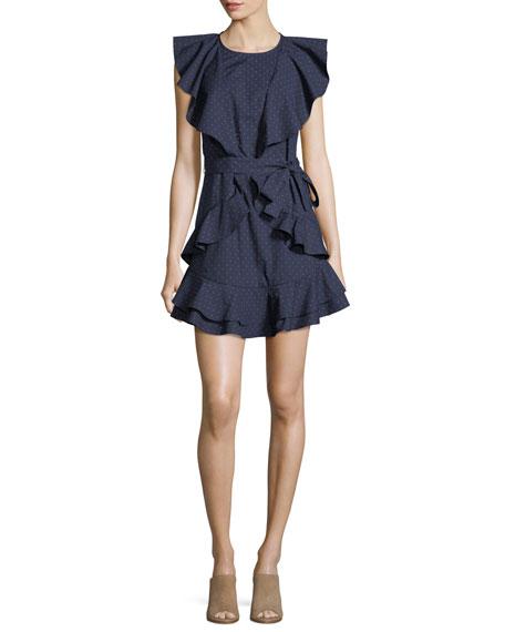 Joie Malachy Ruffled Pindot Dress