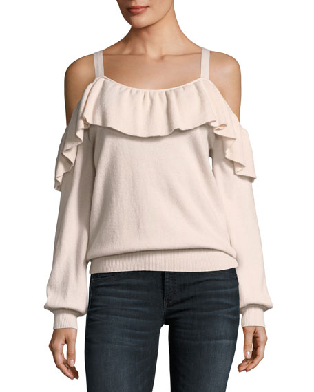 Delbin Ruffle Off-The-Shoulder Cashmere Sweater