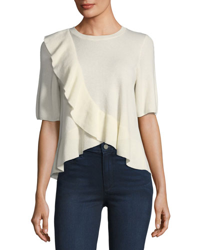 Jayni Ruffled Cashmere Sweater