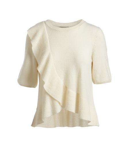 Jayni Ruffled Cashmere Sweater