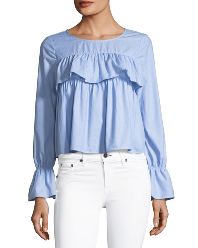 Adotte Ruffled Cotton Blouse