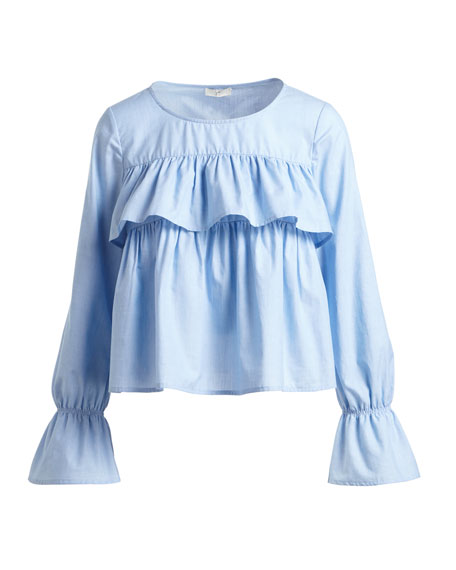 Adotte Ruffled Cotton Blouse