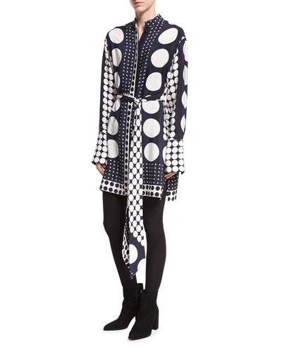 Dot-Print Button-Front Long-Sleeve Silk Shirtdress