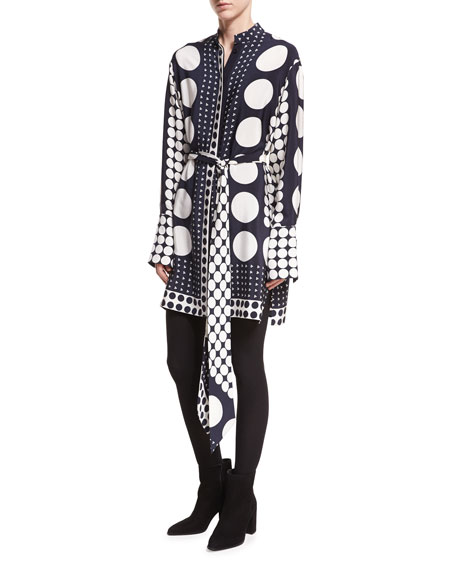 Diane von Furstenberg Dot-Print Button-Front Long-Sleeve Silk