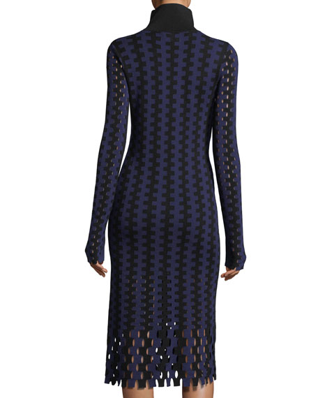 Turtleneck Long-Sleeve Knit Intarsia Midi Dress