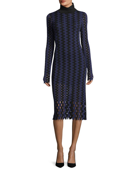 Diane von Furstenberg Turtleneck Long-Sleeve Knit Intarsia Midi