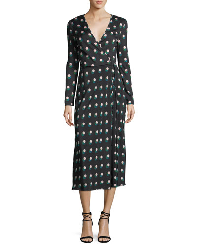 Long-Sleeve Printed Wrap Dress