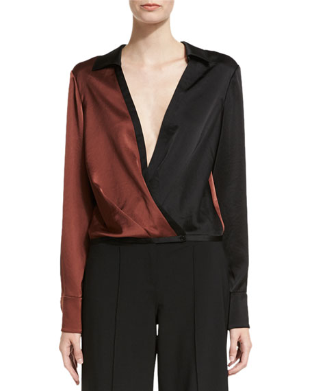 Long-Sleeve Collared Two-Tone Satin Blouse