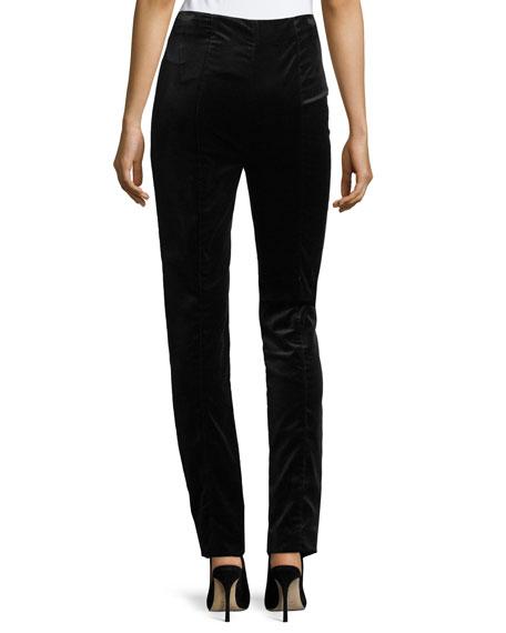 High-Waist Skinny Velvet Pants